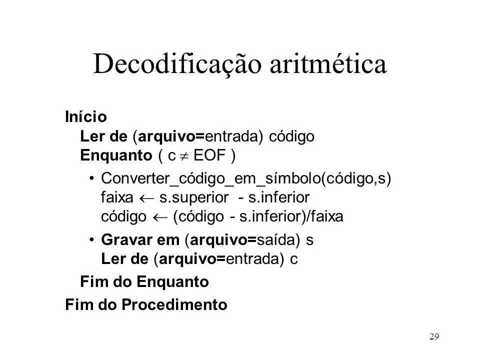 Decodificação aritmética