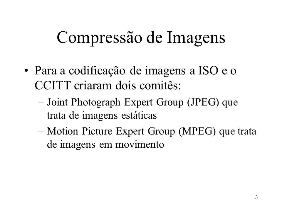Compressão de Imagens Para a codificação de imagens a ISO e o CCITT criaram dois comitês:
