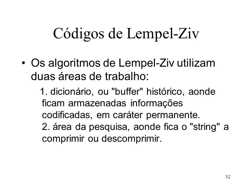 Códigos de Lempel-Ziv Os algoritmos de Lempel-Ziv utilizam duas áreas de trabalho: