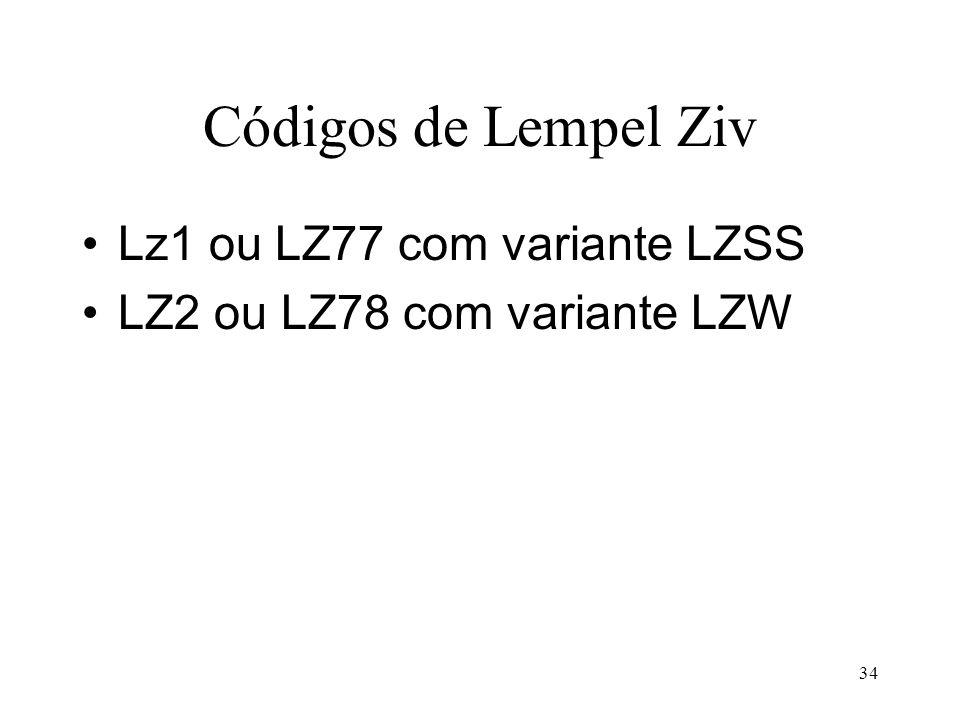 Códigos de Lempel Ziv Lz1 ou LZ77 com variante LZSS