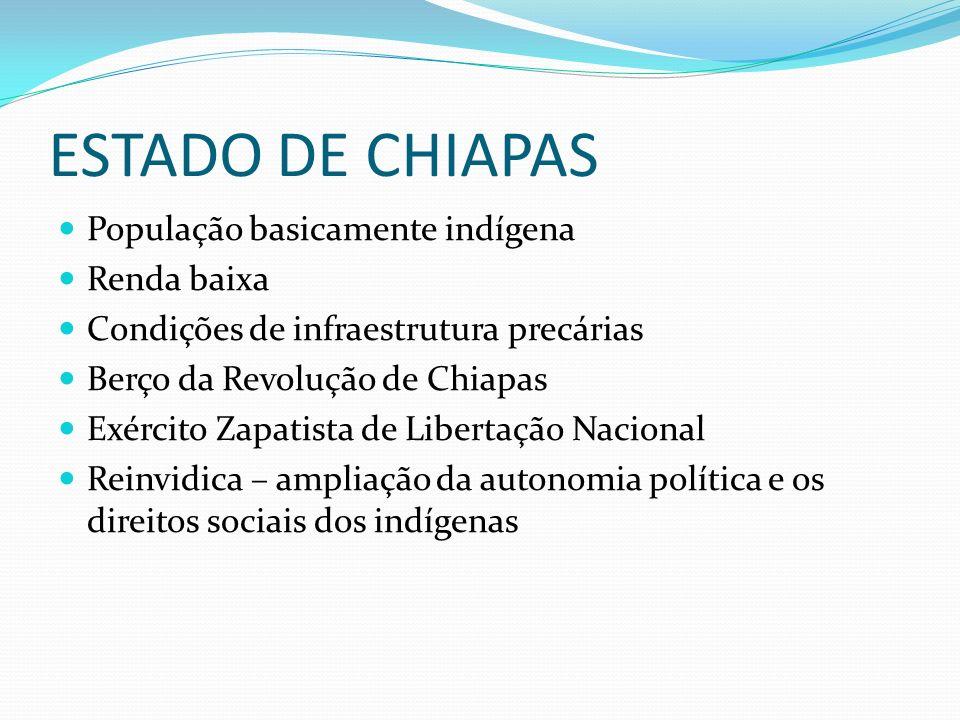 ESTADO DE CHIAPAS População basicamente indígena Renda baixa
