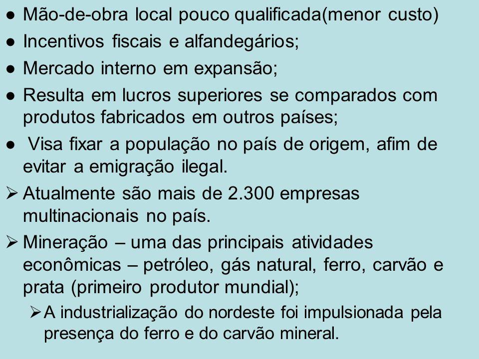 Mão-de-obra local pouco qualificada(menor custo)