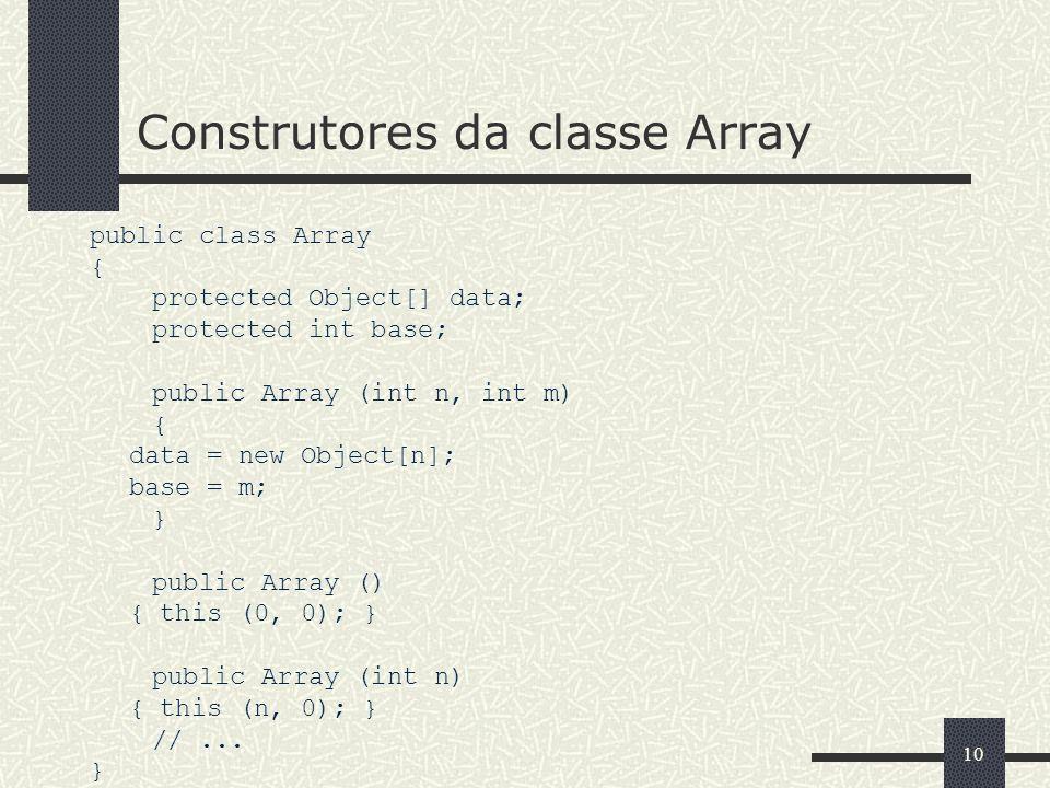 Construtores da classe Array