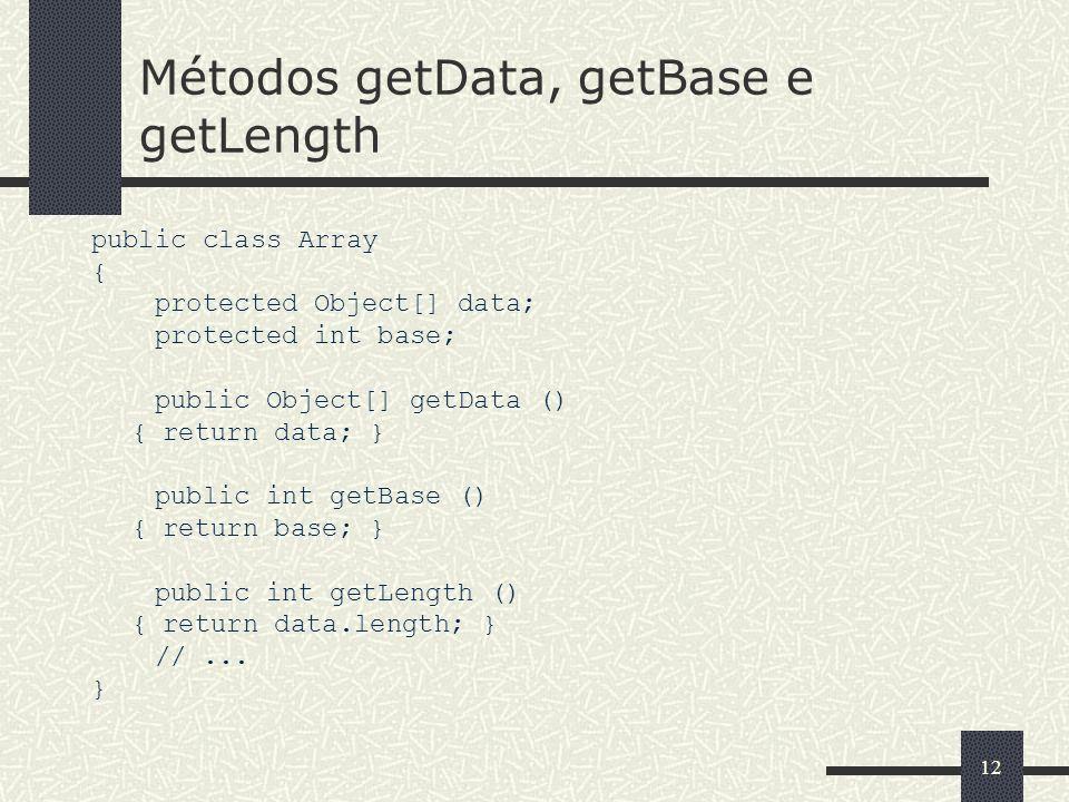Métodos getData, getBase e getLength