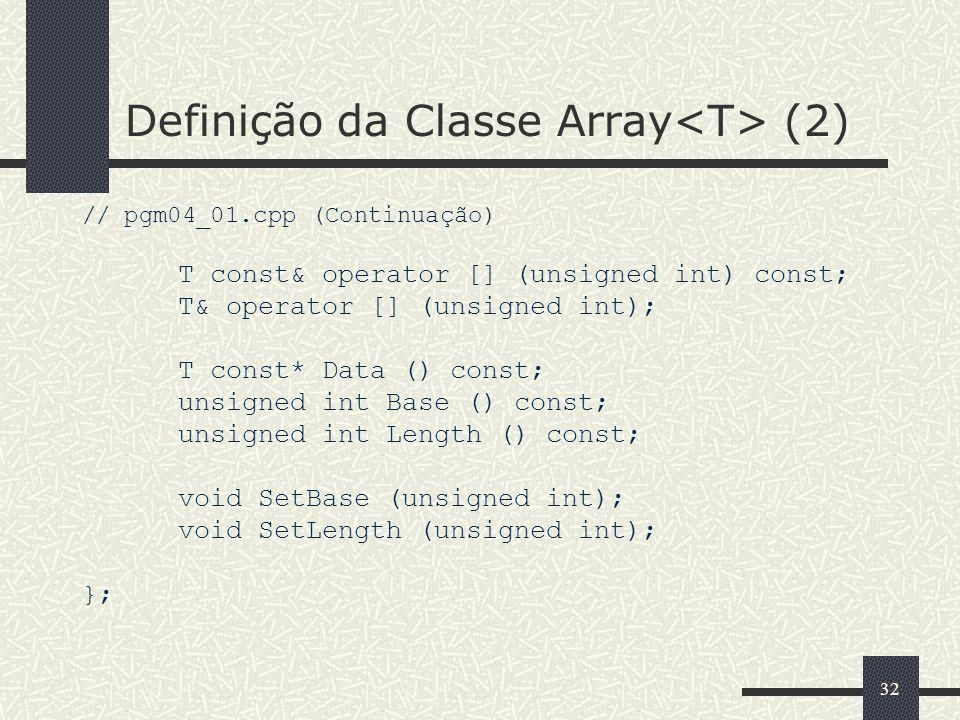 Definição da Classe Array<T> (2)