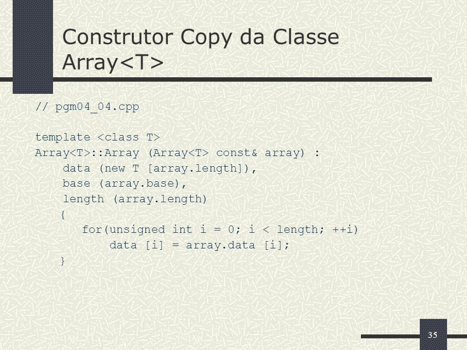 Construtor Copy da Classe Array<T>