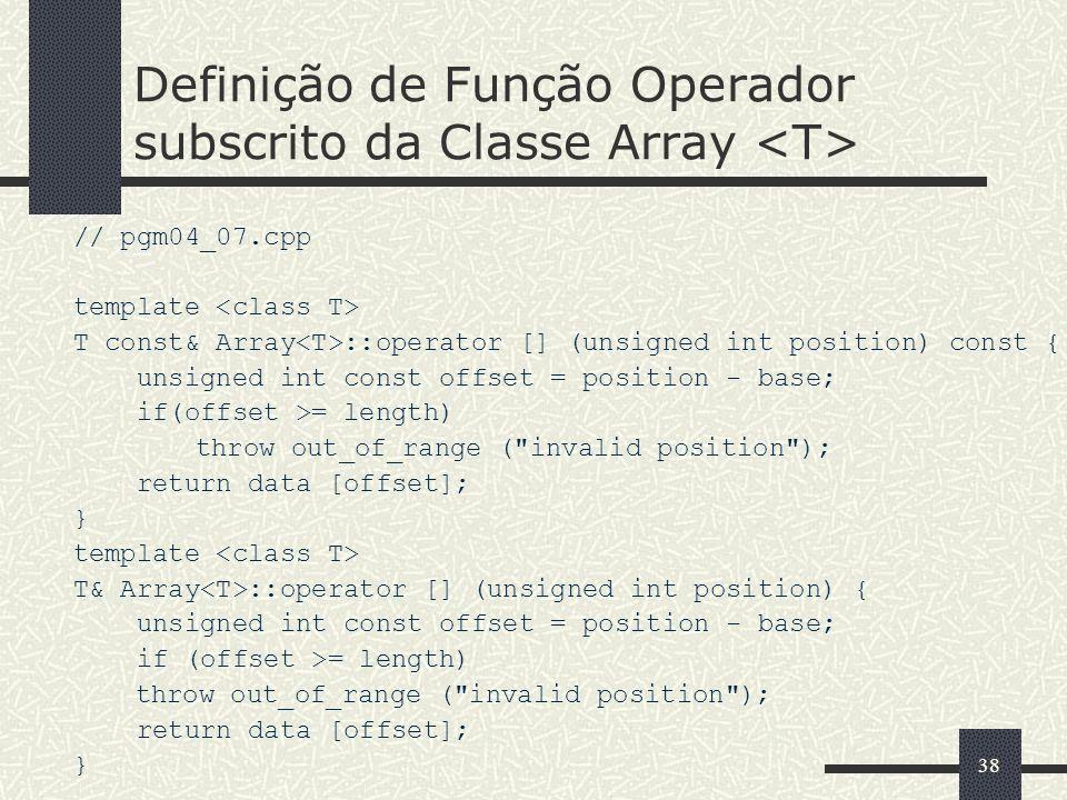Definição de Função Operador subscrito da Classe Array <T>