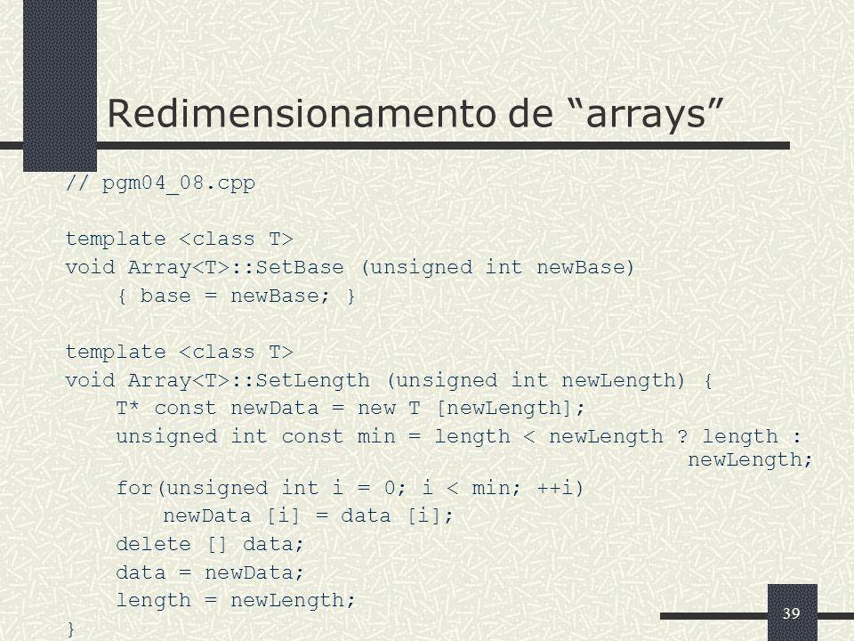 Redimensionamento de arrays