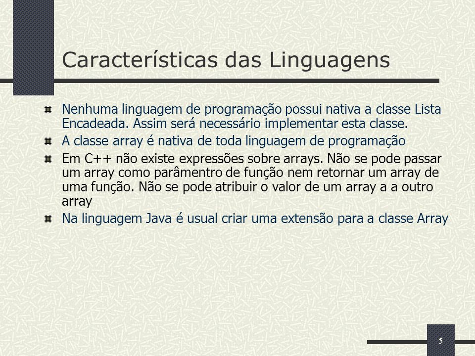 Características das Linguagens