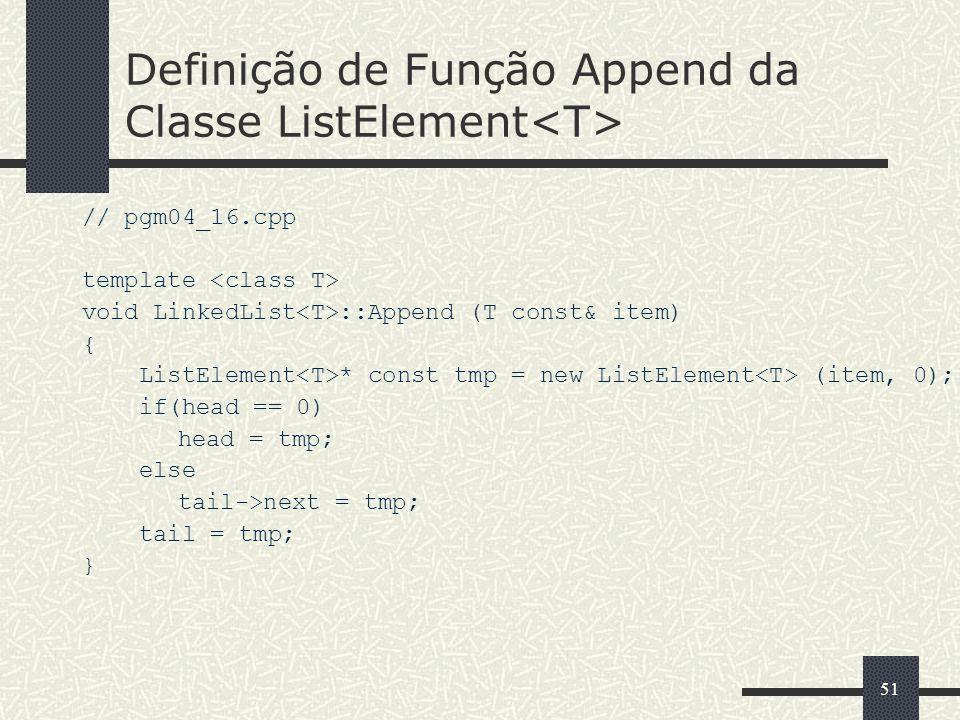 Definição de Função Append da Classe ListElement<T>