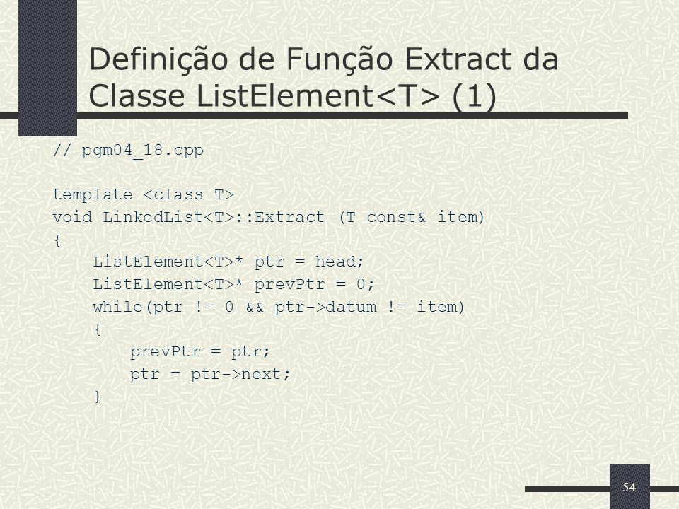 Definição de Função Extract da Classe ListElement<T> (1)