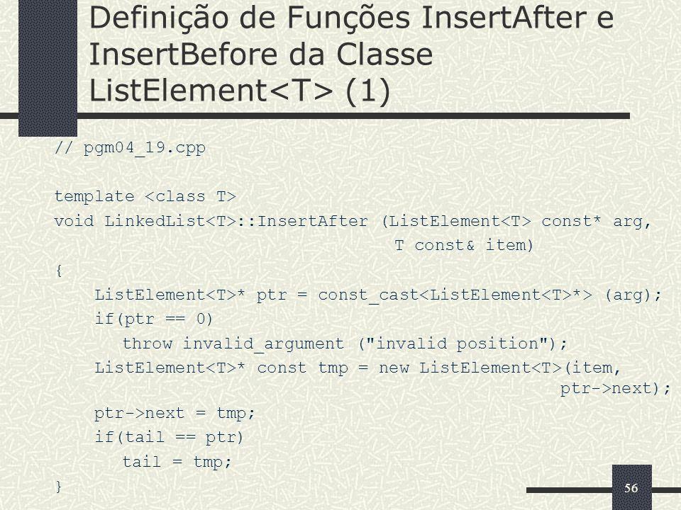 Definição de Funções InsertAfter e InsertBefore da Classe ListElement<T> (1)
