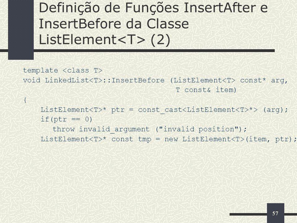Definição de Funções InsertAfter e InsertBefore da Classe ListElement<T> (2)
