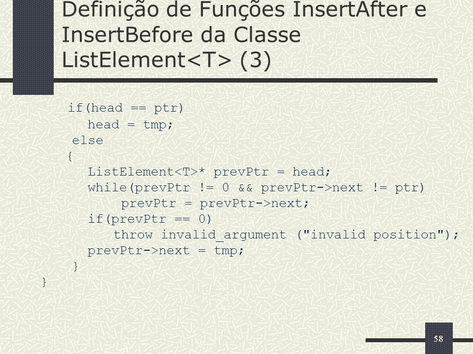 Definição de Funções InsertAfter e InsertBefore da Classe ListElement<T> (3)