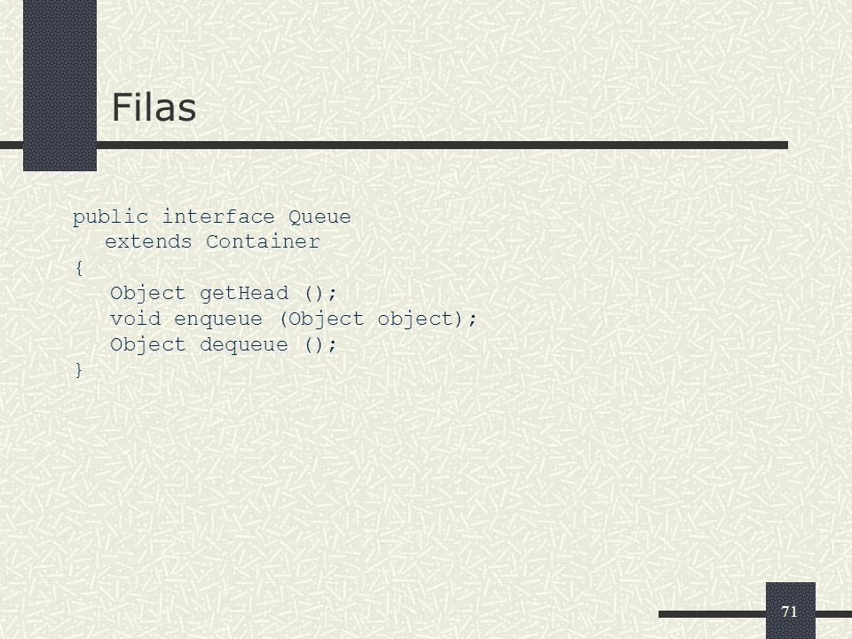 Filas public interface Queue extends Container { Object getHead ();