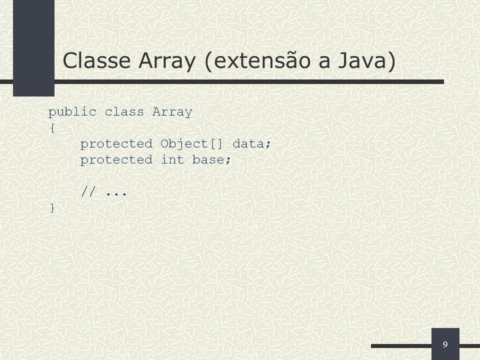 Classe Array (extensão a Java)