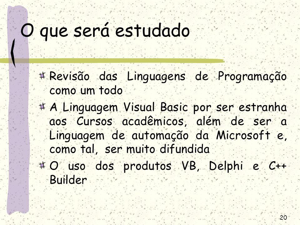O que será estudado Revisão das Linguagens de Programação como um todo
