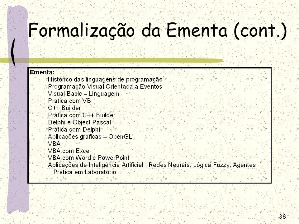 Formalização da Ementa (cont.)