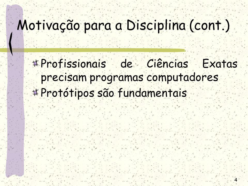 Motivação para a Disciplina (cont.)