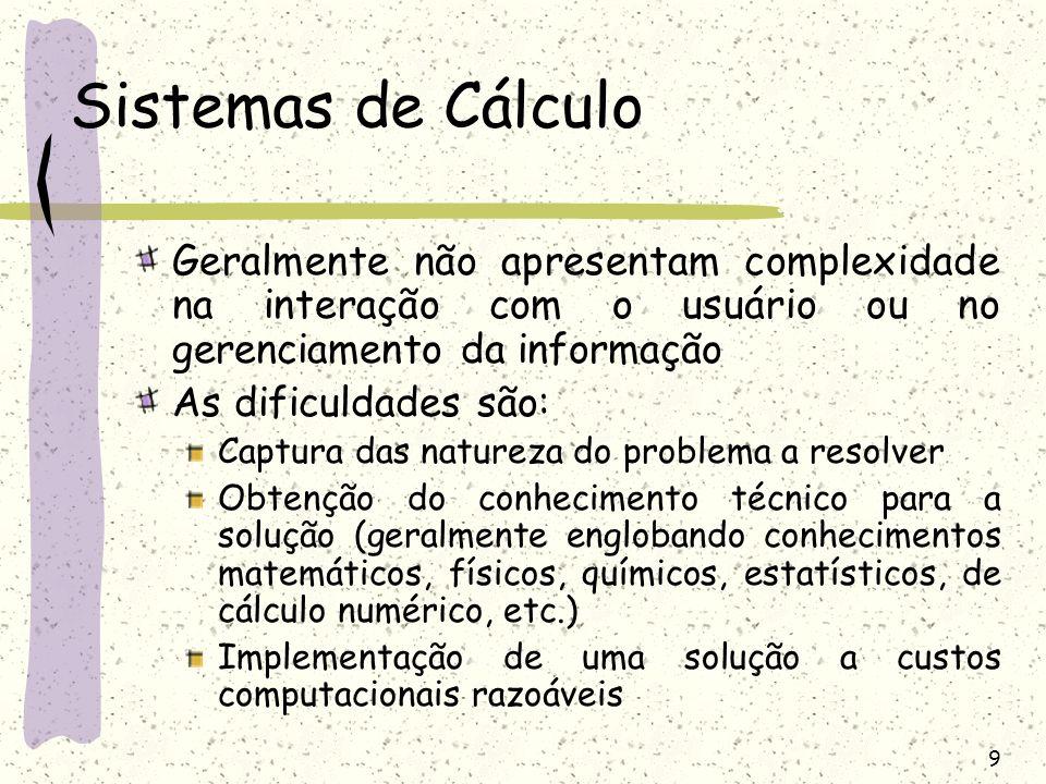 Sistemas de Cálculo Geralmente não apresentam complexidade na interação com o usuário ou no gerenciamento da informação.