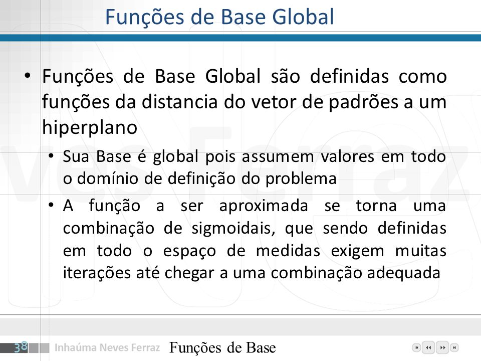 Funções de Base Global Funções de Base Global são definidas como funções da distancia do vetor de padrões a um hiperplano.