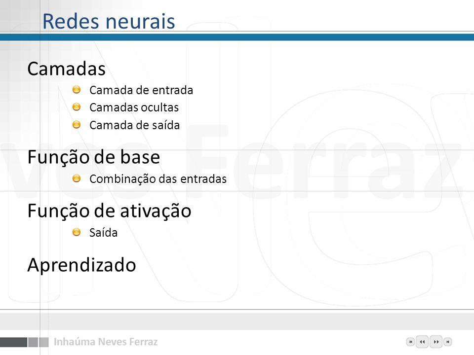 Redes neurais Camadas Função de base Função de ativação Aprendizado