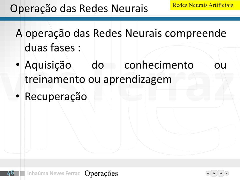Operação das Redes Neurais