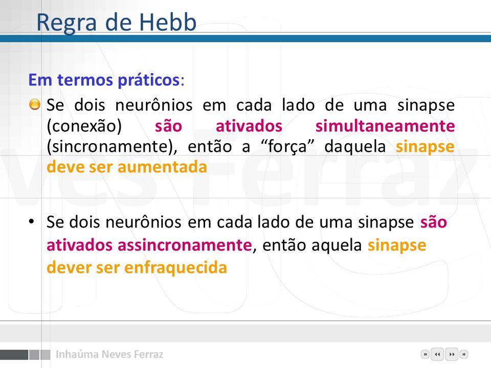 Regra de Hebb Em termos práticos: