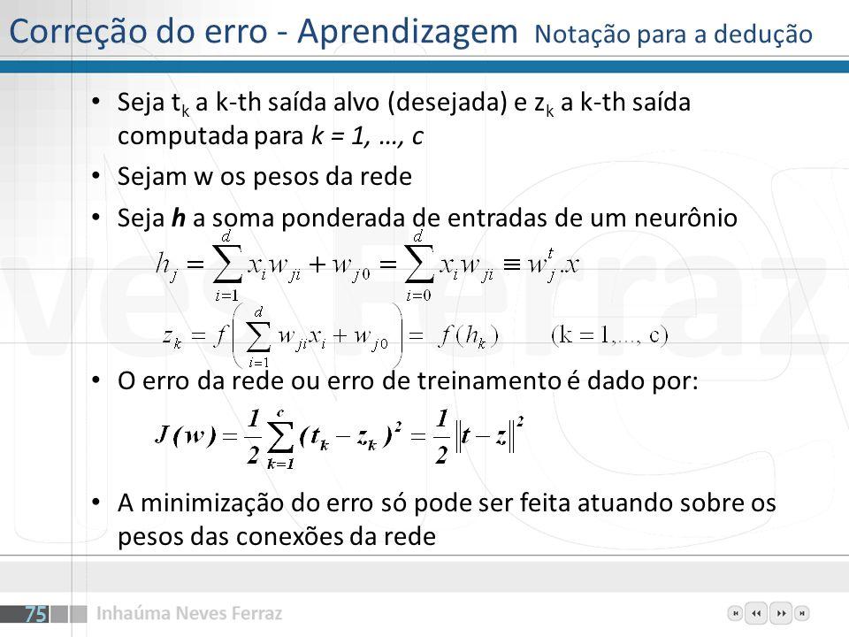 Correção do erro - Aprendizagem Notação para a dedução