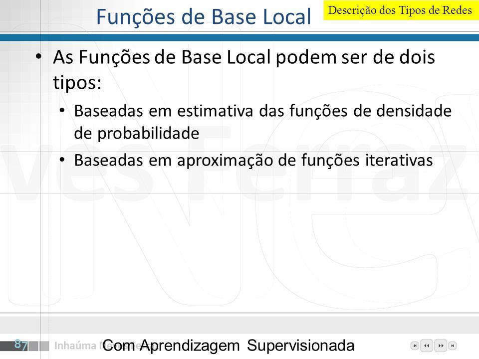 Funções de Base Local Descrição dos Tipos de Redes. As Funções de Base Local podem ser de dois tipos: