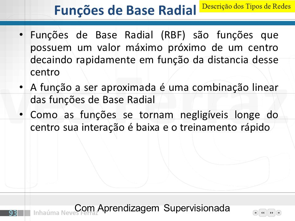 Funções de Base Radial Descrição dos Tipos de Redes.