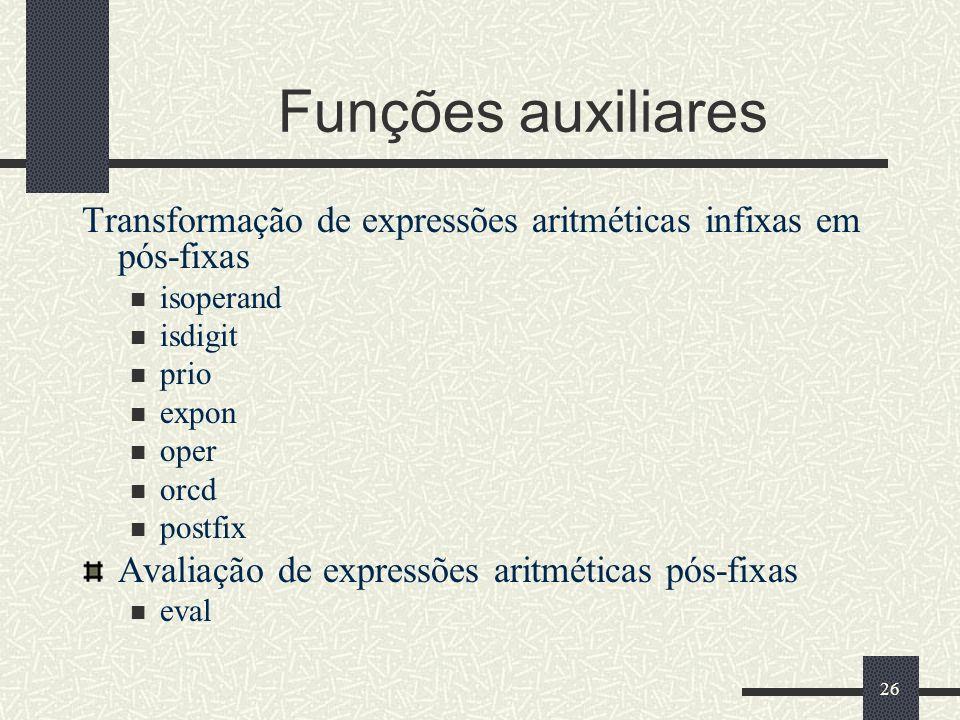 Funções auxiliares Transformação de expressões aritméticas infixas em pós-fixas. isoperand. isdigit.