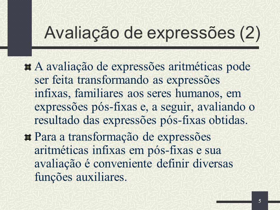 Avaliação de expressões (2)
