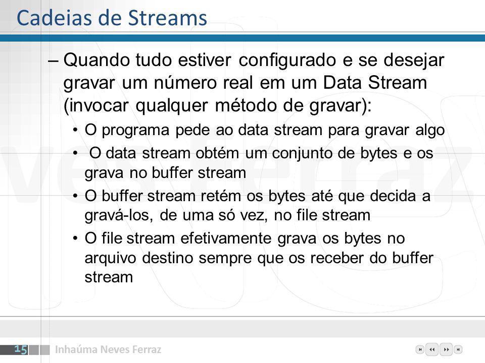 Cadeias de Streams Quando tudo estiver configurado e se desejar gravar um número real em um Data Stream (invocar qualquer método de gravar):