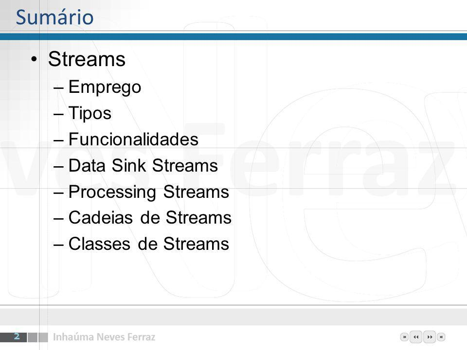 Sumário Streams Emprego Tipos Funcionalidades Data Sink Streams