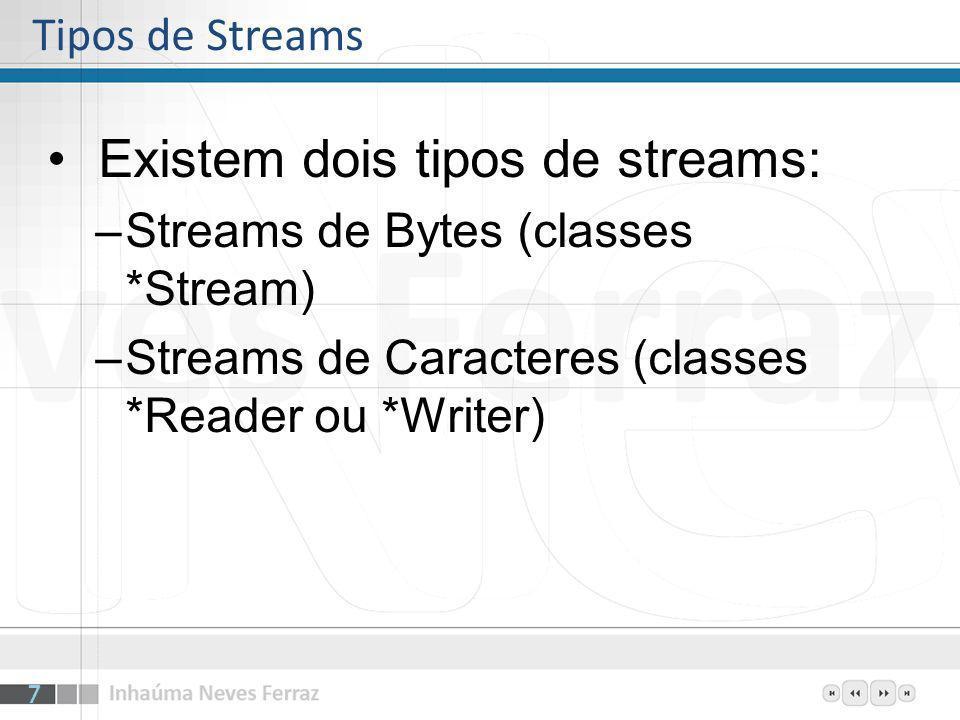 Existem dois tipos de streams:
