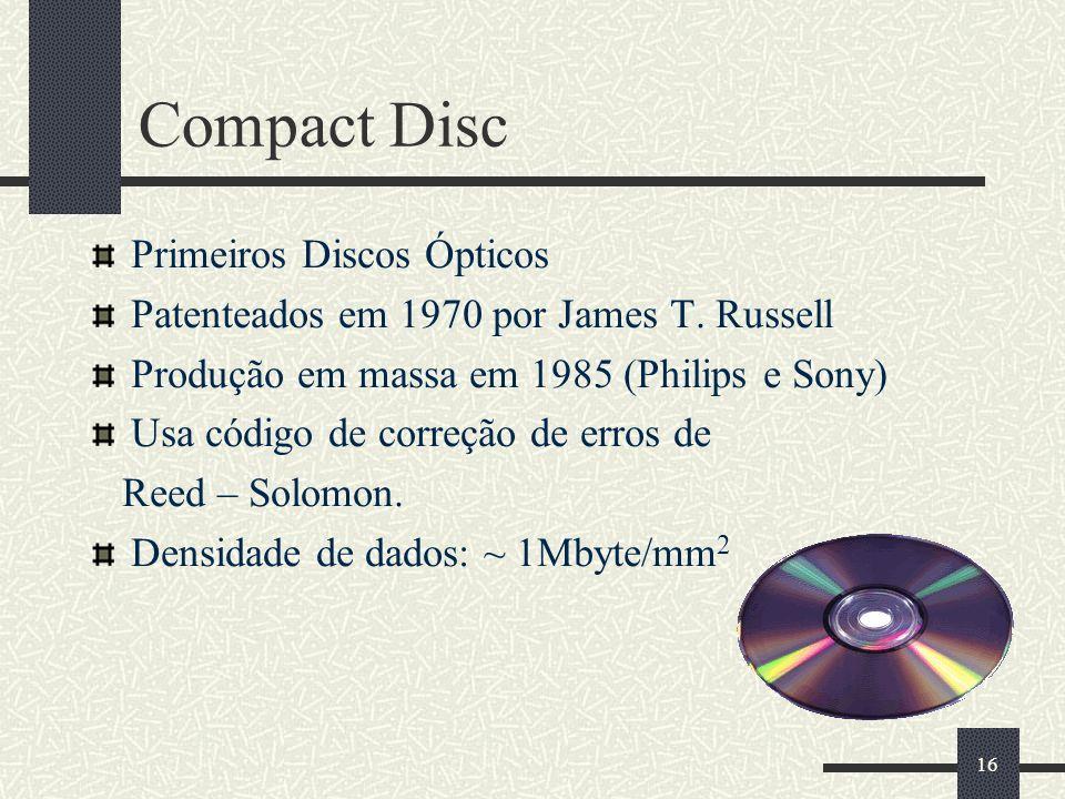 Compact Disc Primeiros Discos Ópticos