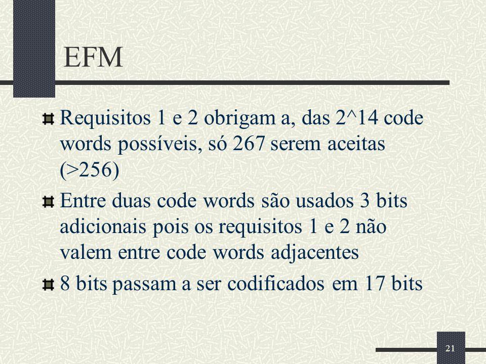 EFM Requisitos 1 e 2 obrigam a, das 2^14 code words possíveis, só 267 serem aceitas (>256)