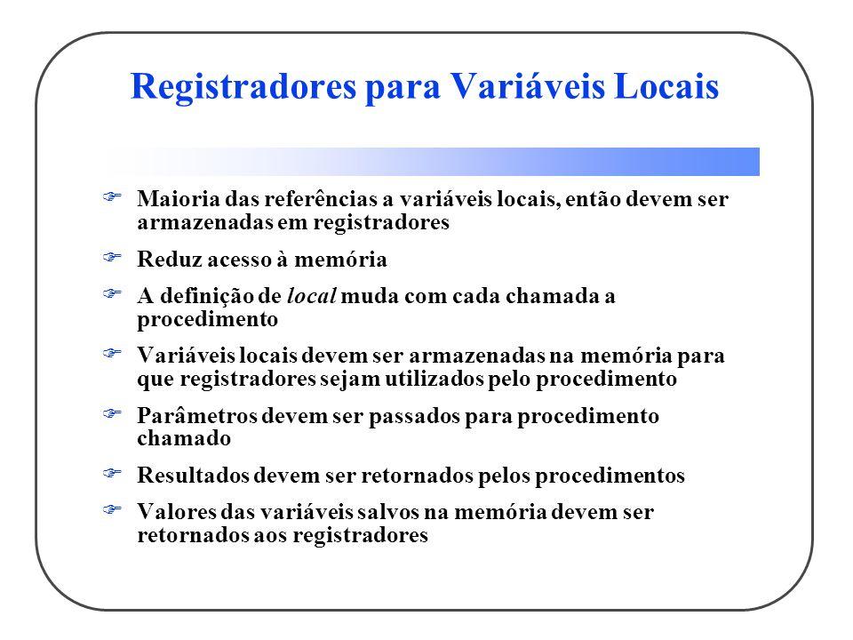 Registradores para Variáveis Locais