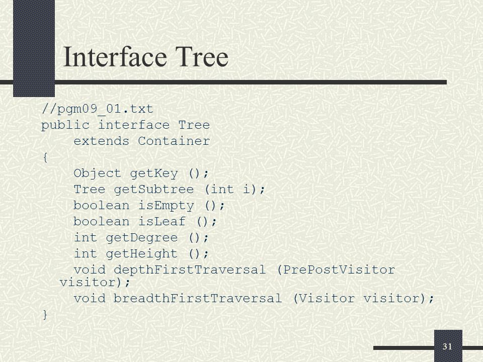 Interface Tree //pgm09_01.txt public interface Tree extends Container