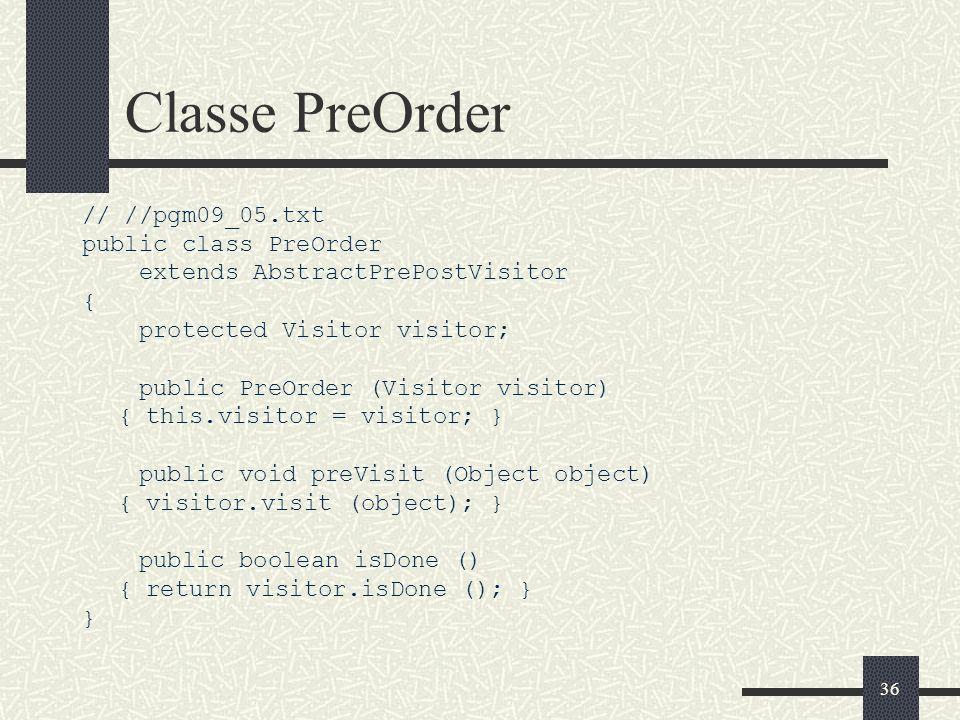 Classe PreOrder // //pgm09_05.txt public class PreOrder