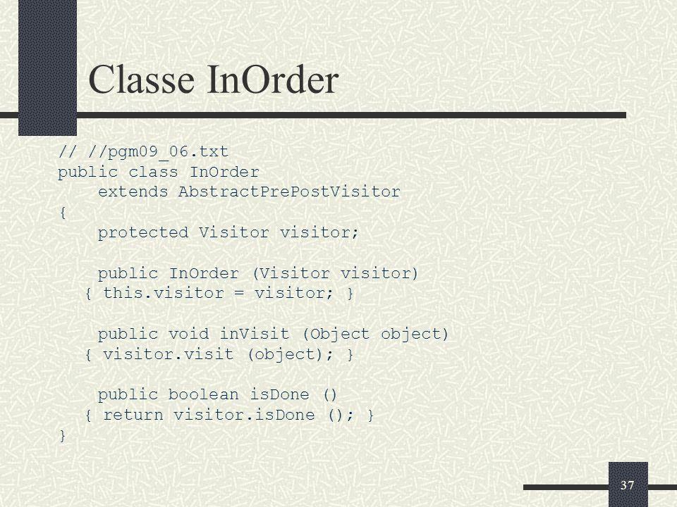 Classe InOrder // //pgm09_06.txt public class InOrder