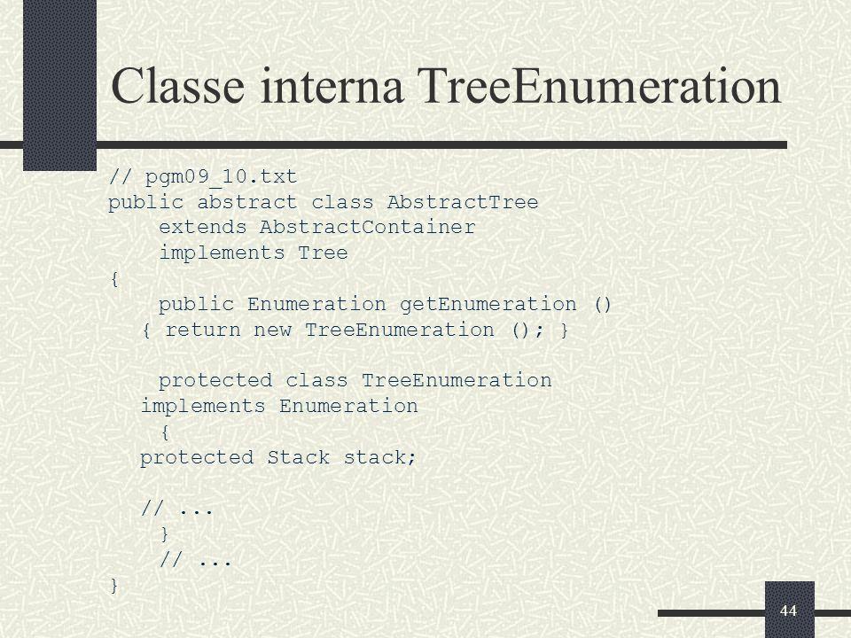 Classe interna TreeEnumeration