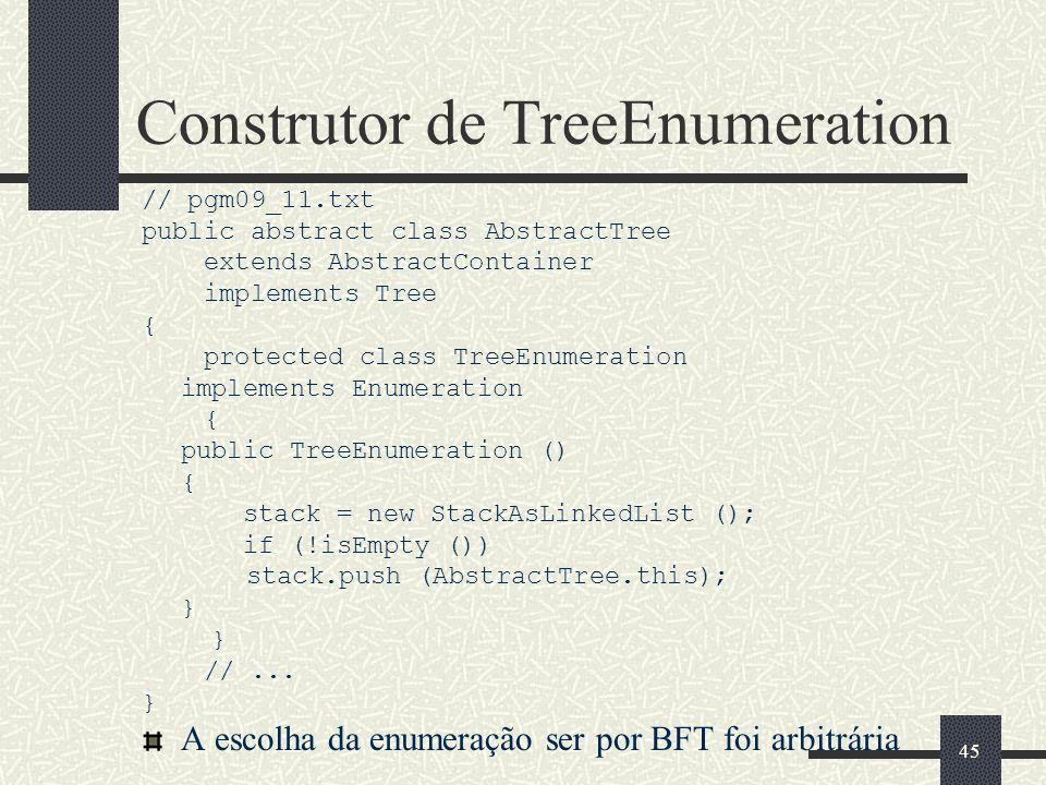 Construtor de TreeEnumeration