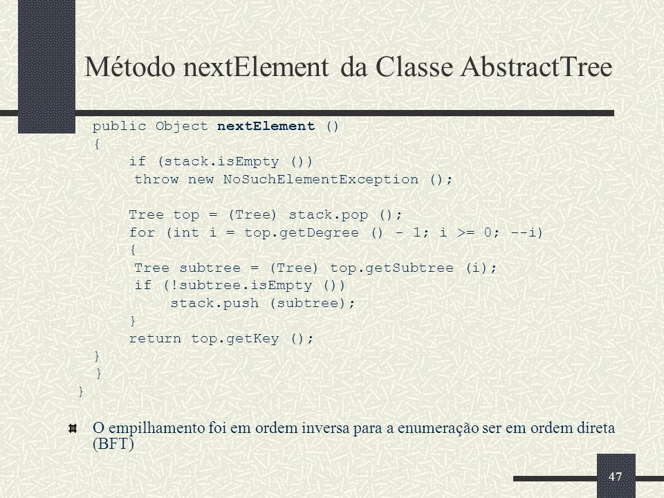 Método nextElement da Classe AbstractTree