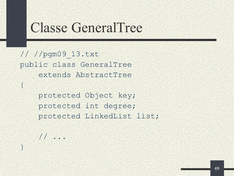 Classe GeneralTree // //pgm09_13.txt public class GeneralTree