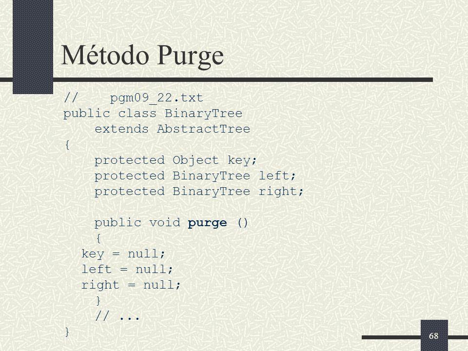 Método Purge // pgm09_22.txt public class BinaryTree