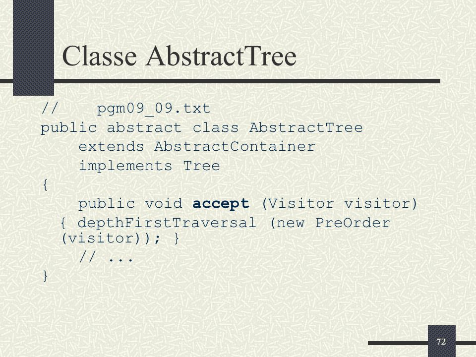 Classe AbstractTree // pgm09_09.txt public abstract class AbstractTree