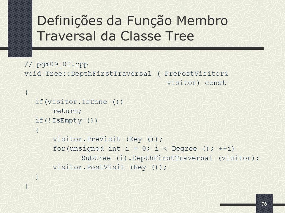 Definições da Função Membro Traversal da Classe Tree