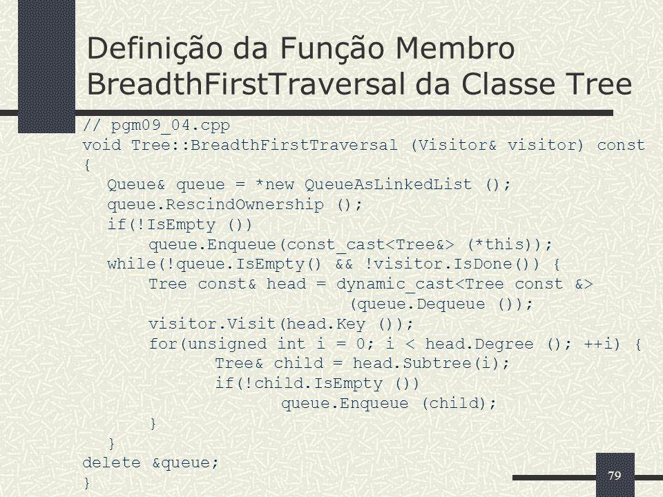 Definição da Função Membro BreadthFirstTraversal da Classe Tree